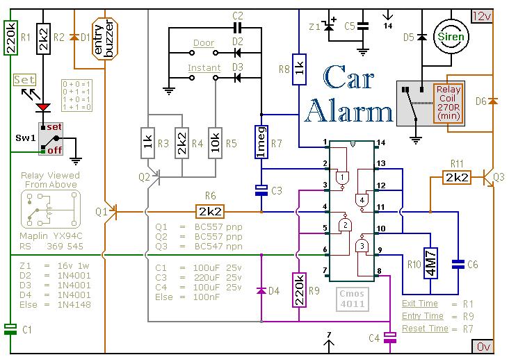 一个简单的汽车防盗器电路设计