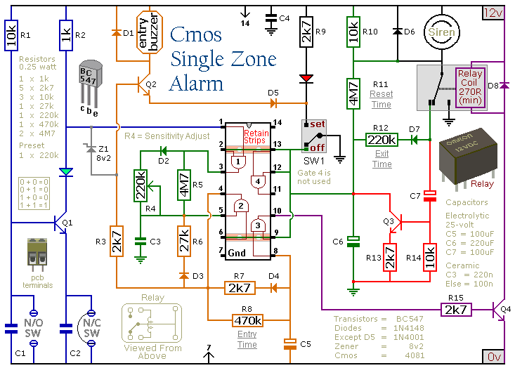 单区的cmos报警器电路设计